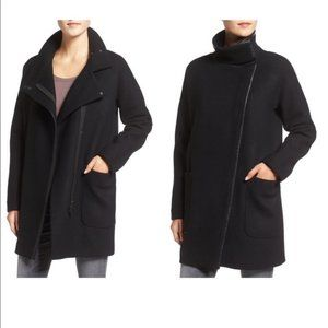 Madewell City Grid Wool Coat in Black size 0